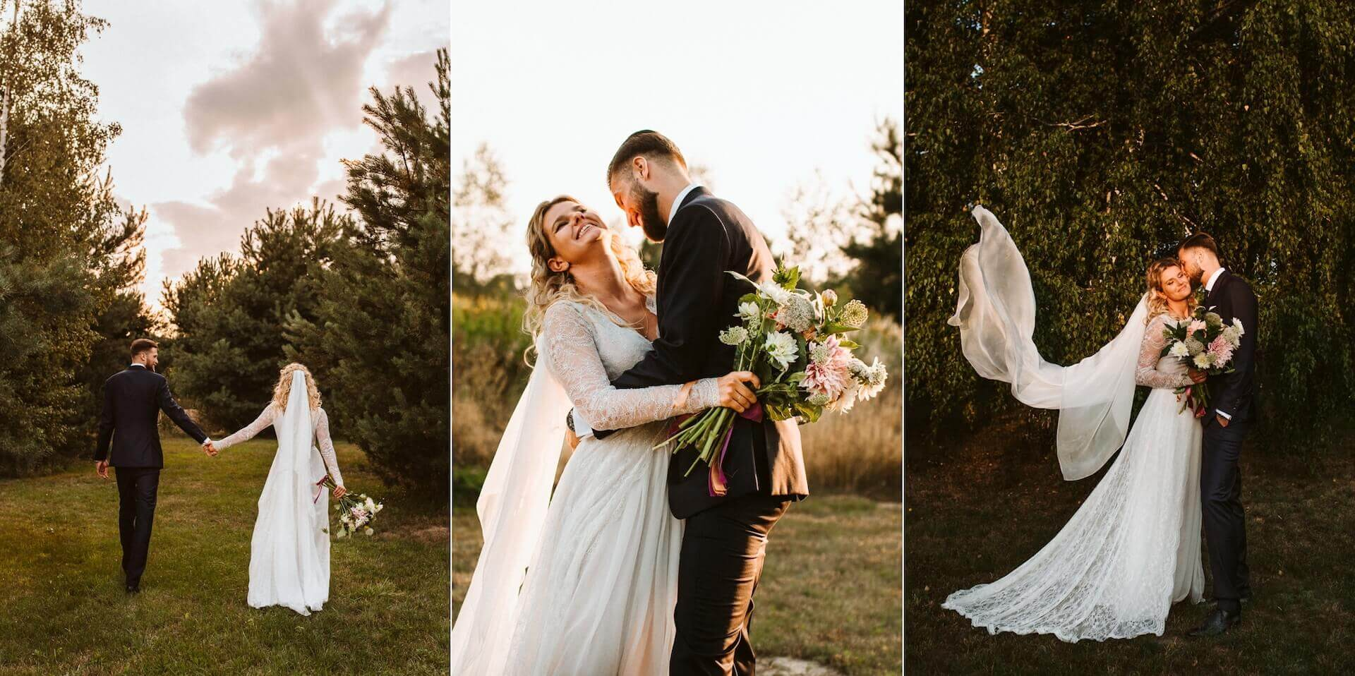 kolaż trzech zdjęć par ślubnych podczas sesji plenerowej